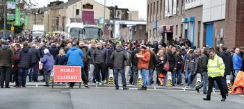 Picture of fans outside Burnley FC football stadium